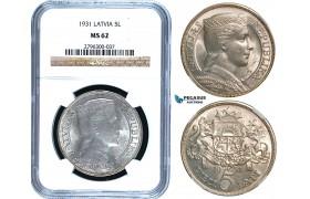 R475, Latvia, 5 Lati 1931, Silver, NGC MS62