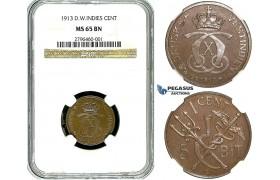 R488, Danish West Indies, Christian X, 1 Cent/5 Bit 1913, NGC MS65BN (Pop 1/1, Finest!)