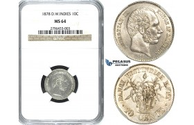 R489, Danish West Indies, Christian IX, 10 Cents 1878, Copenhagen, Silver, NGC MS64