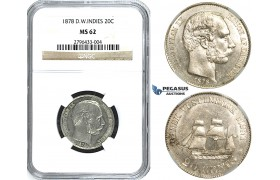 R490, Danish West Indies, Christian IX, 20 Cents 1878, Copenhagen, Silver, NGC MS62