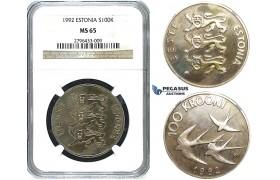 R491, Estonia, 100 Krooni 1992, Silver, NGC MS65