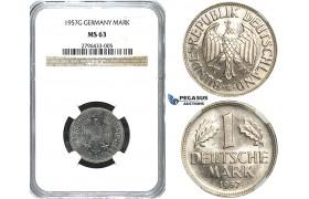 R493, Germany, Federal Republic, 1 Mark 1957-G, Stuttgart, NGC MS63