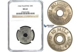 R500, Palestine, 10 Mils 1946, NGC MS64