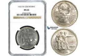 R504, Russia (Soviet Union) Rouble 1924, Leningrad, Silver, NGC MS64