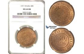 R51, Brazil, 40 Reis 1897, NGC MS64RB