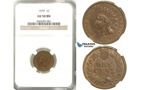 R512, United States, Indian Head Cent 1879, NGC AU50BN