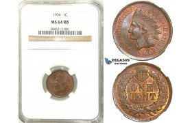 R513, United States, Indian Head Cent 1904, NGC MS64RB
