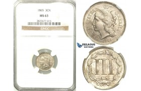 R515, United States, 3 Cents 1865, NGC MS63