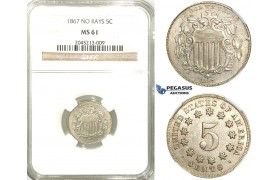 "R516, United States, Shield Nickel (5C.) 1867 ""No Rays"" NGC MS61"