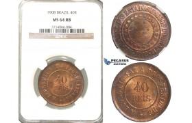 R52, Brazil, 40 Reis 1908, NGC MS64RB