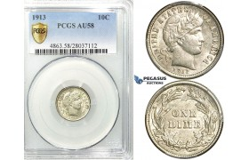 R530, United States, Barber Dime (10C.) 1913, Silver, PCGS AU58
