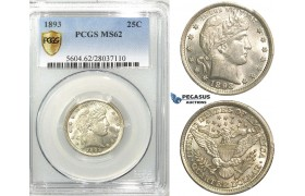 R531, United States, Barber Quarter (25C.) 1893, Silver, PCGS MS62