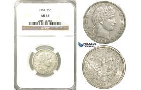 R533, United States, Barber Quarter (25C.) 1904, Silver, NGC AU55