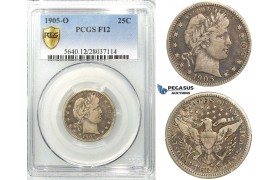 R534, United States, Barber Quarter (25C.) 1905-O, New Orleans, Silver, PCGS F12