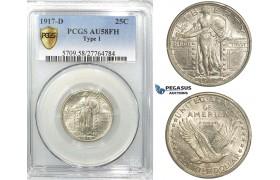 "R535, United States, Liberty Standing Quarter (25C.) 1917-D, Denver, Silver, PCGS AU58FH ""Type 1"""