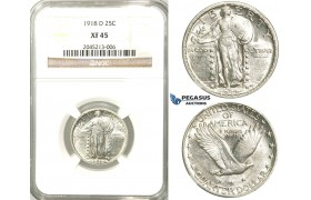 R536, United States, Liberty Standing Quarter (25C.) 1918-D, Denver, Silver, NGC XF45