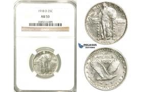 R537, United States, Liberty Standing Quarter (25C.) 1918-D, Denver, Silver, NGC AU53