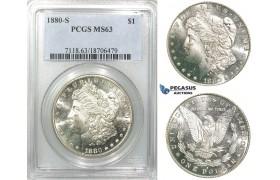 R538, United States, Morgan Dollar 1880-S, San Francisco, Silver, PCGS MS63