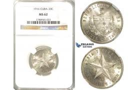 R54, Cuba, 20 Centavos 1916, Silver, NGC MS62