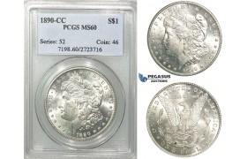 R541, United States, Morgan Dollar 1890-CC, Carson City, Silver, PCGS MS60
