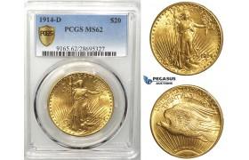 R544, United States, Saint-Gaudens 20 Dollars 1914-D, Denver, Gold, PCGS MS62