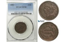 R546, United States, Half Cent 1853, PCGS VF30