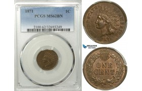 R547, United States, Indian head Cent 1871, PCGS MS62BN