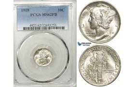 R549, United States, Mercury Dime (10C) 1919, Silver, PCGS MS62FB