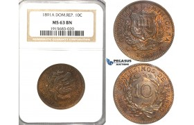 R55, Dominican Republic, 10 Centesimos 1891-A, Paris, NGC MS63BN
