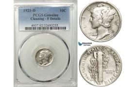 R550, United States, Mercury Dime (10C) 1921-D, Denver, Silver, PCGS F Det.