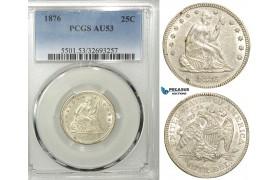 R551, United States, Liberty Seated Quarter (25C) 1876, Silver, PCGS AU53