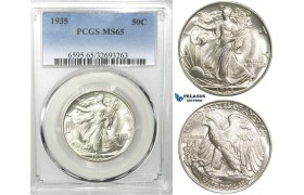 R555, United States, Liberty Walking Half Dollar 1935, Silver, PCGS MS65