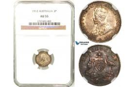 R558, Australia, Edward VII, Threepence 1912, Silver, NGC AU55