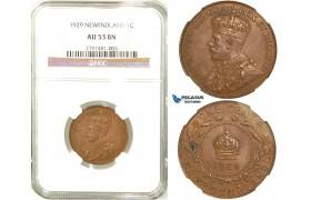 R561, Canada, Newfoundland, George V, 1 Cent 1929, NGC AU53BN