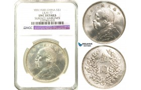 "R563, China ""Fat man"" Dollar Yr. 9 (1920) Silver, L&M 77, NGC UNC Det."