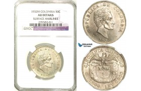 R564, Colombia, 50 Centavos 1932-M, Silver, NGC AU Det.
