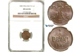 R568, Finland (under Russia) Alexander III, 1 Penni 1883, NGC MS64BN