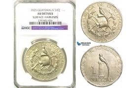 R574, Guatemala, 1 Quetzal 1925, Silver, NGC AU Det. Rare!
