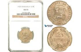 R589, Venezuela, 12 1/2 Centimos 1925, NGC AU55