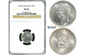 R593, Venezuela, 50 Centimos 1960, Silver, NGC MS65