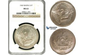 R596, Biafra, Pound 1969, Silver, NGC MS63
