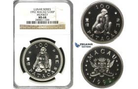 "R604, Macau, 100 Patacas 1992, Silver, Lunar Series ""Monkey"" NGC MS68"