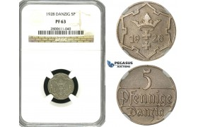 R607, Poland, Danzig, 5 Pfennig 1928, Berlin, NGC PF63, Very Rare Grade!