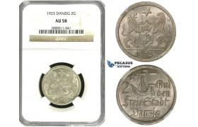 R608, Poland, Danzig, 2 Gulden 1923, Berlin, Silver, NGC AU58