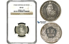 R615, Switzerland, 1 Franc 1956-B, Bern, Silver, NGC SP63