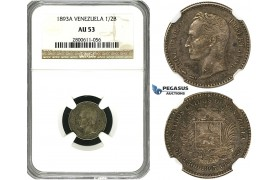 R617, Venezuela, 1/2 Bolivar 1893-A, Paris, Silver, NGC AU53