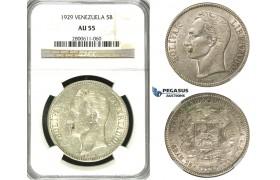 R621, Venezuela, 5 Bolivares 1929, Silver, NGC AU55