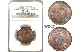 R622, China, Kiangsoo, 10 Cash CD 1902, Large 9 Tails, Plum Blossom, Low Manchu, Y-162.7? Reeded Edge, NGC MS63BN