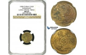 "R624, China, Kiangnan, 1 Cash 1908, Long Stroke ""Ning"" Y-7K, NGC MS63"