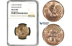 R626, Madagascar, 1 Franc 1943-SA, NGC MS63RB